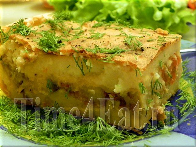 Картофельный пирог с рыбой