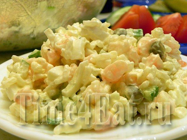 Салат с креветками и каперсами