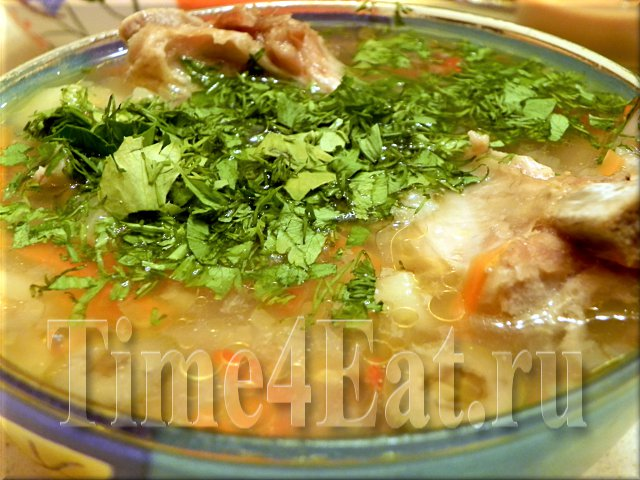 Мясной суп с оливками