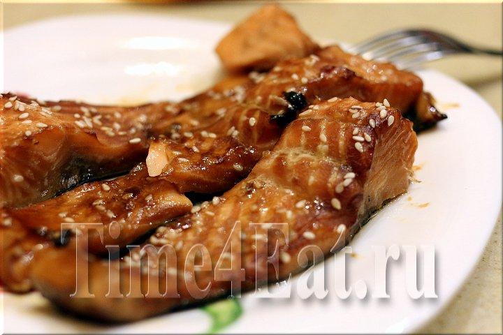Лосось в соевом-медовом маринаде