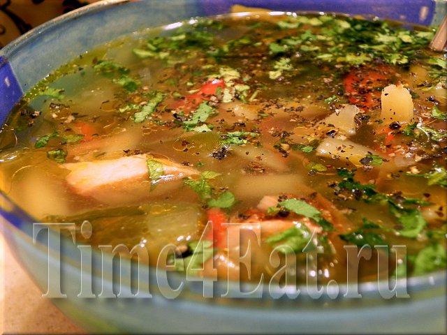 Овощной суп с копченым цыпленком