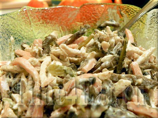 Салат с ветчиной, курицей и грибами