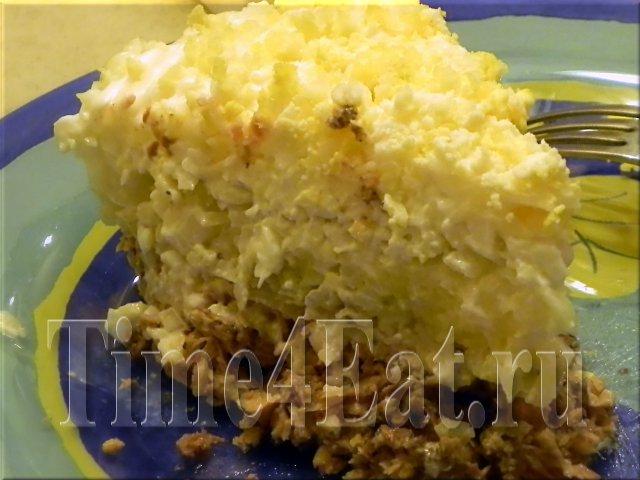 Слоеный салат из сайры