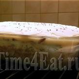 Слоеная картофельная запеканка с мясом и грибами