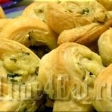 Слоеные завитки с сыром и зеленью