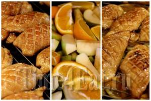 Утиные грудки в апельсиновой глазури с яблоками и апельсинами-1