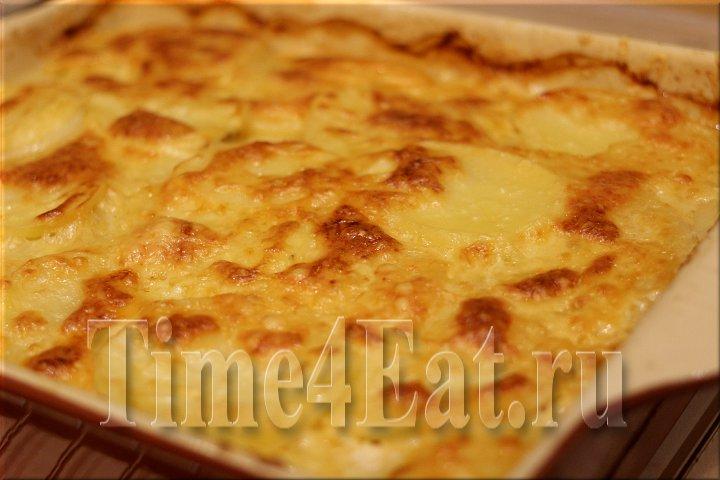 Картофельная запеканка с копчённым лососем